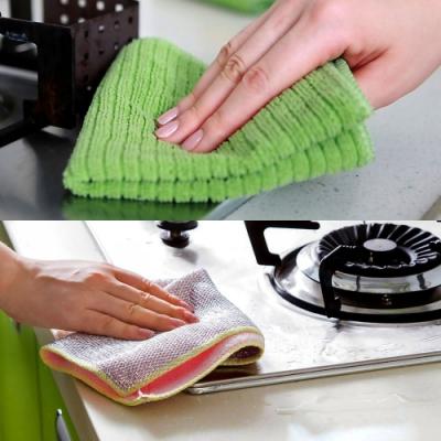 金銀絲3D網眼超細纖維刷鍋洗碗抹布10入組(顏色隨機)