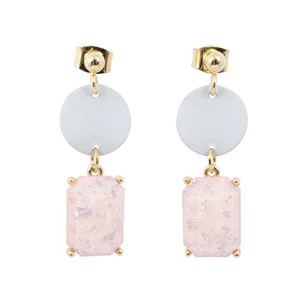 Prisme美國時尚飾品 優雅粉寶石 銀色耳環 耳針式