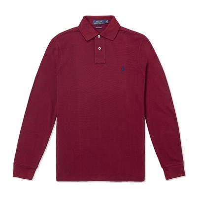 Polo Ralph Lauren 經典刺繡小馬長袖Polo衫(Custom Slim)-酒紅色