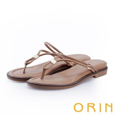ORIN 流線細版皮革平底夾腳拖鞋 棕色