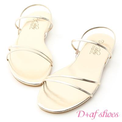 D+AF 夏氛首選.精緻細帶平底涼鞋*金