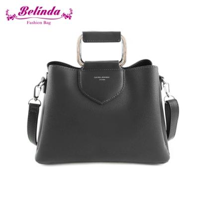 【Belinda】安卡拉簡約方型鐵環手提側背包(黑色)