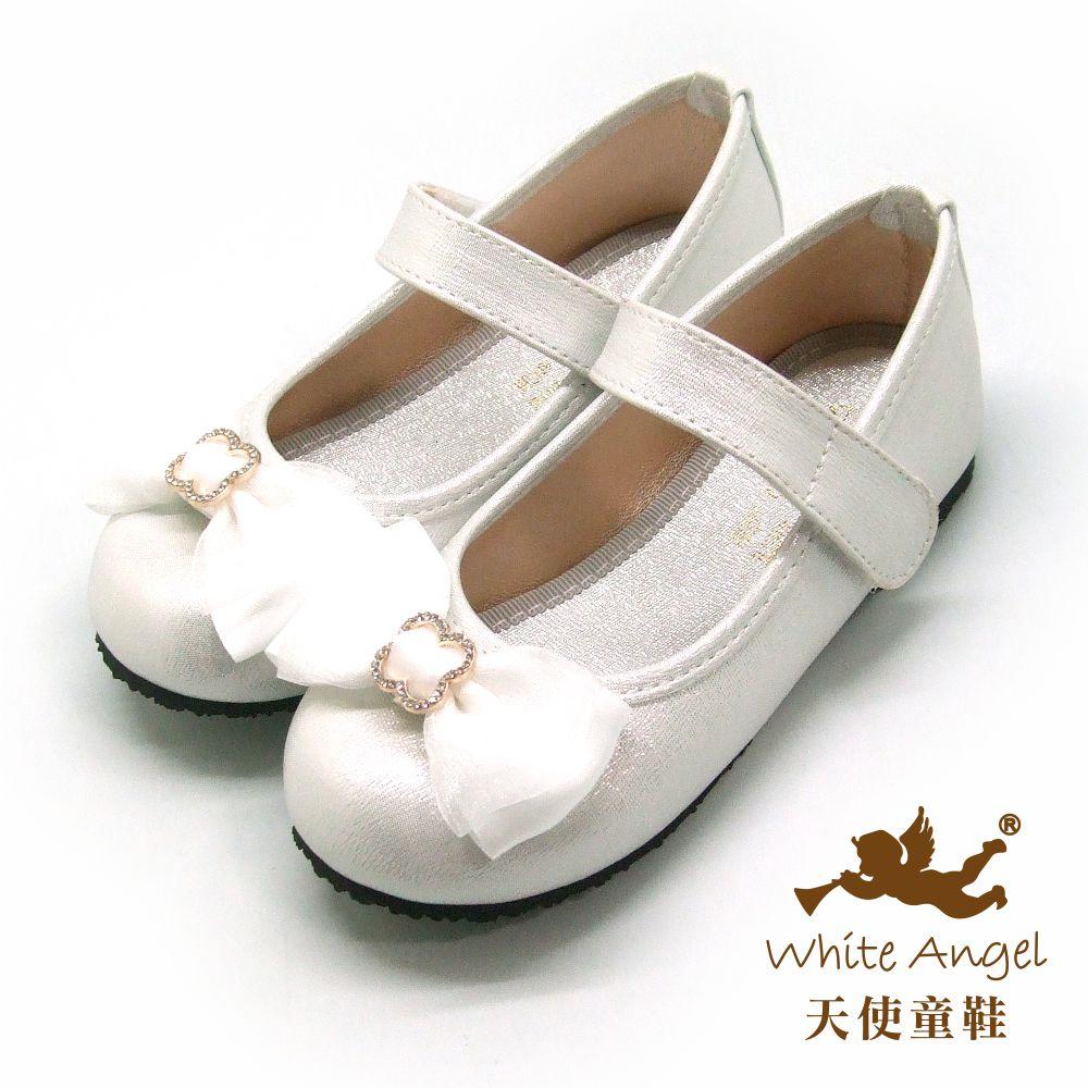 天使童鞋 心戀心古典公主鞋(中-大童)917-白
