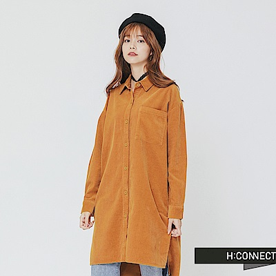 H:CONNECT 韓國品牌 女裝-單口袋燈芯絨長版襯衫-卡其