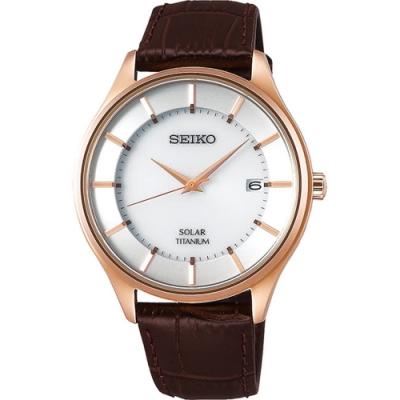 SEIKO 精工SPIRIT太陽能鈦金屬手錶(V157-0BX0J/SBPX106J)