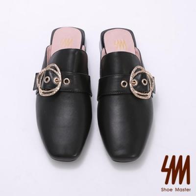 SM-方頭華麗皮帶雙扣環穆勒鞋