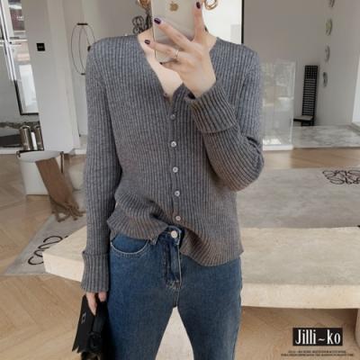 JILLI-KO V領坑條軟糯針織開衫- 灰/咖啡