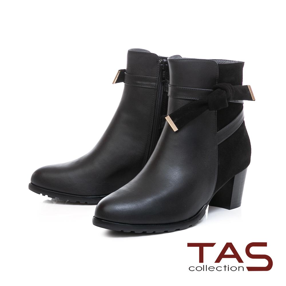 TAS 蝴蝶結金屬繫帶麂皮拼接粗跟短靴-時尚黑