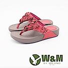 W&M 日系花朵造型健走健塑夾腳拖鞋 女鞋-桃紅(另有藍)