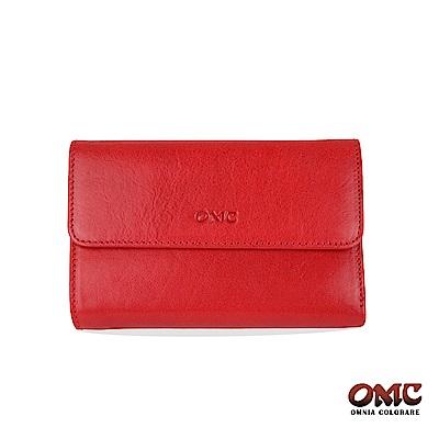 OMC 原皮系列-植鞣牛皮翻蓋壓扣三折零錢中夾-紅色