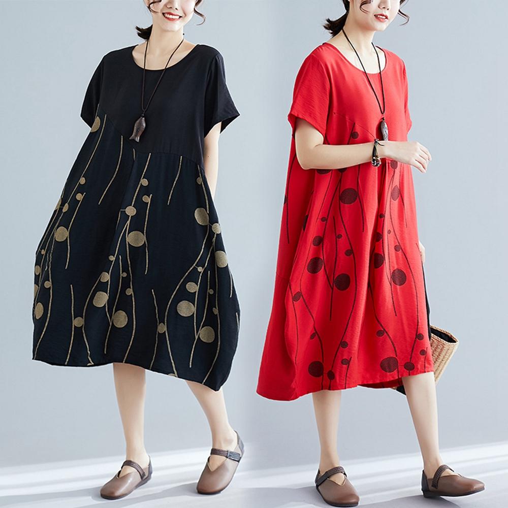 燈籠裙襬寬版印花洋裝-M-2XL(共二色)-Keer