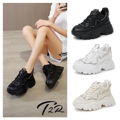 T2R-正韓空運-輕盈真皮款老爹鞋-增高約8公分-黑/白/米