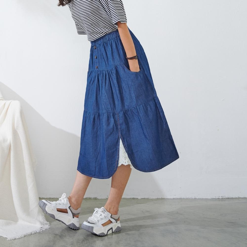 慢 生活 鬆緊腰森林系層次單寧長裙- 深藍