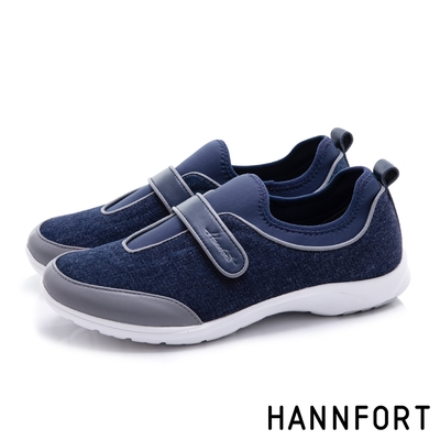 HANNFORT 澳洲 EASY WALK丹寧羊皮氣墊健走鞋 女 深藍