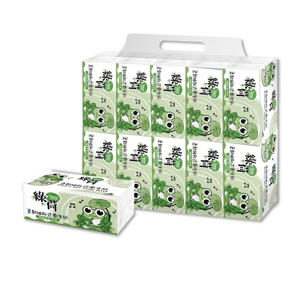 綠荷柔韌抽取式花紋衛生紙100抽X100包/箱x2