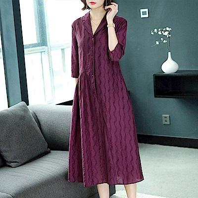 時尚V領排釦波紋紫洋裝M-3XL-REKO