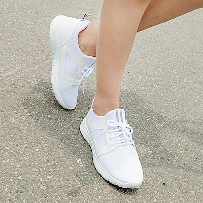 台灣製造.高彈迴力~皮革拼網布透氣減震運動鞋.3色-OB大尺碼