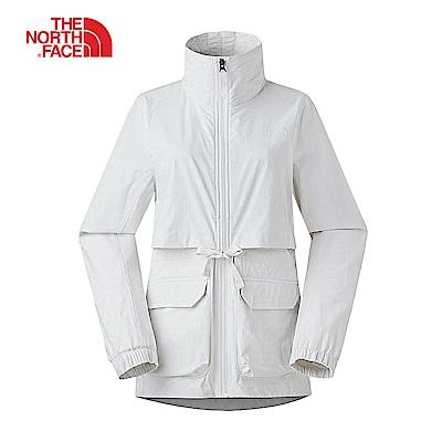 The North Face北面女款白色防潑水可收納式高領衝鋒衣|3VQREY8