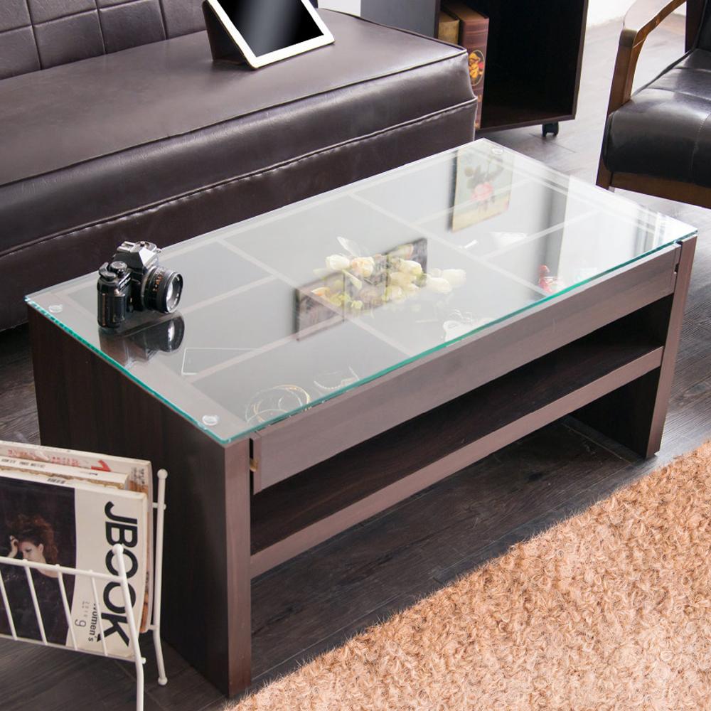 澄境 日式雙向抽拉收納玻璃茶几桌/和室桌90x45x40cm-DIY
