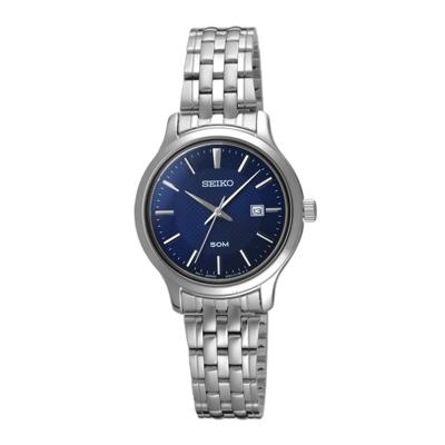 SEIKO夏日點點時尚女腕錶-銀X藍(SUR651P1)/30mm