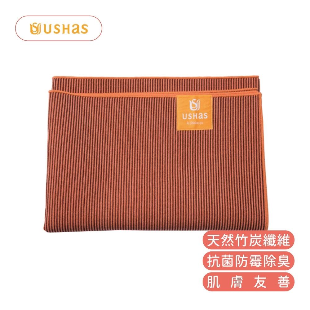 【台灣製造】USHAS 竹炭纖維止滑瑜伽墊鋪巾 橙 PER-1333OG