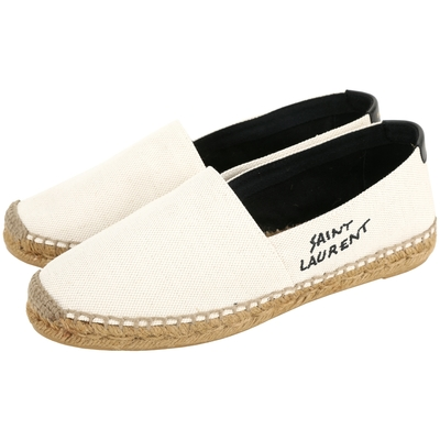 YSL Saint Laurent 刺繡字母帆布平底草編鞋(米白色)