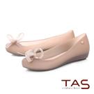 TAS蝴蝶花結金屬圓飾魚口娃娃鞋-氣質灰