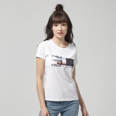 Lee短袖T恤 Day to Night照片印刷圓領 白 女