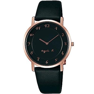 agnes b.法式風情簡約薄型腕錶(BG4009P1)-黑X玫瑰金色/34mm