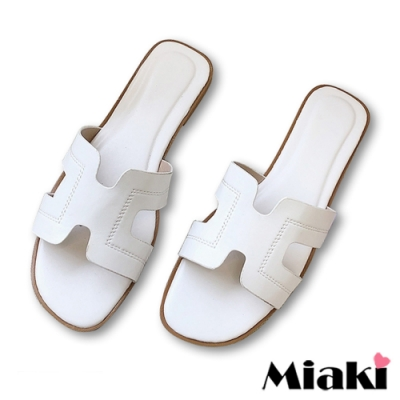 Miaki-拖鞋韓國時尚平底涼鞋-白