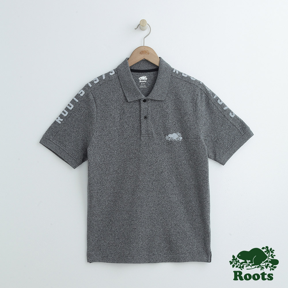 男裝Roots 雙肩反光字標短袖POLO衫-灰