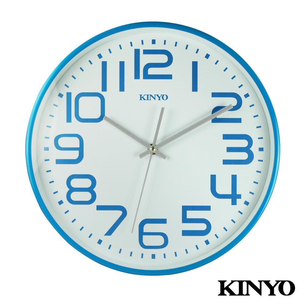 KINYO 13吋馬卡龍大數字靜音掃描掛鐘(藍)CL146