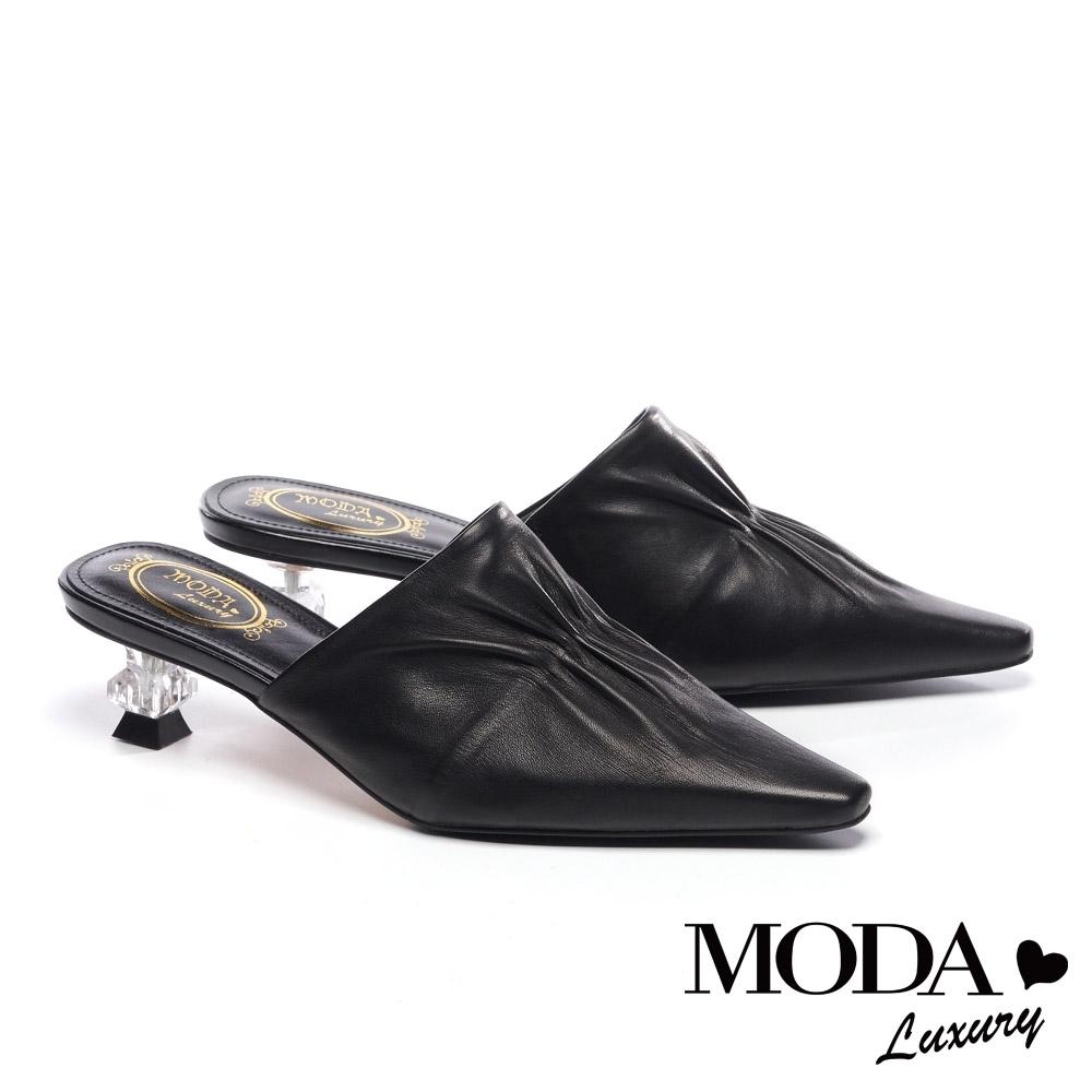 拖鞋 MODA Luxury 復古時尚抓皺羊皮穆勒高跟拖鞋-黑