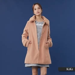 【KiKi】可拆領名媛風毛呢-大衣/外套(二色)