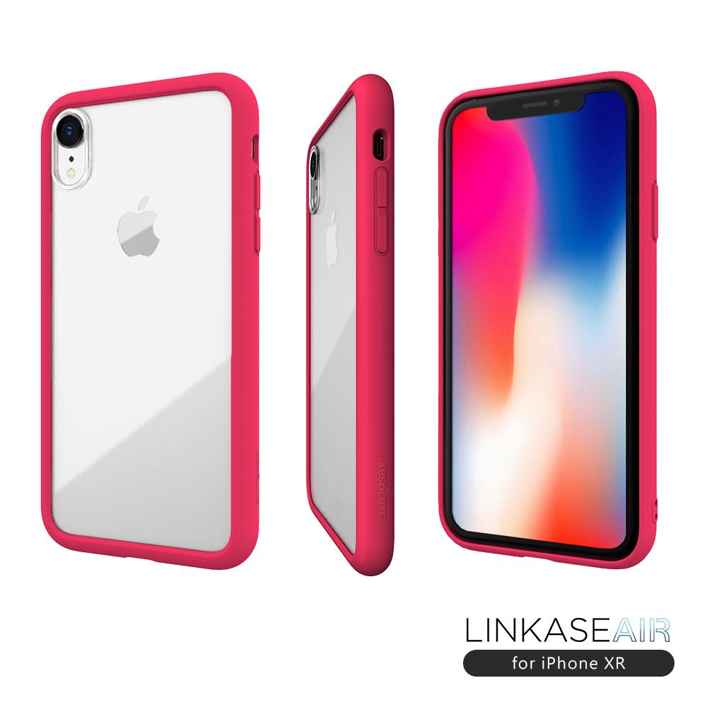 LINKASE AIR iPhone XR 大猩猩9H康寧玻璃防摔保護殼-甜心桃粉