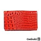 Continuita 康緹尼 頭層牛皮日本鱷魚紋多功能手機套-紅色