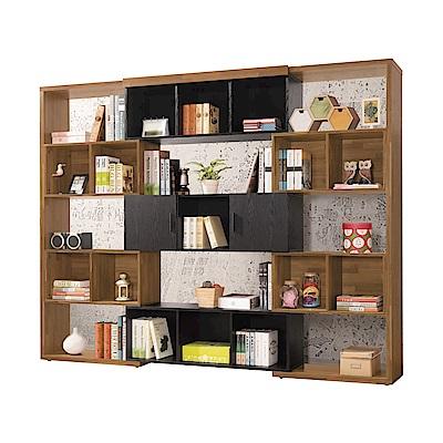 文創集 皮斯德5.3尺伸縮式書櫃(可伸縮機能設計)-160-260x30x200cm免組