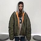 La Belleza灰色連帽內裡橘色袖抽皺保暖風衣鋪棉飛行外套