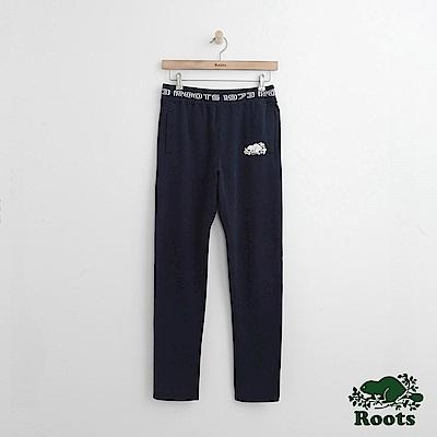 Roots -女裝- 字標修身棉褲 - 藍