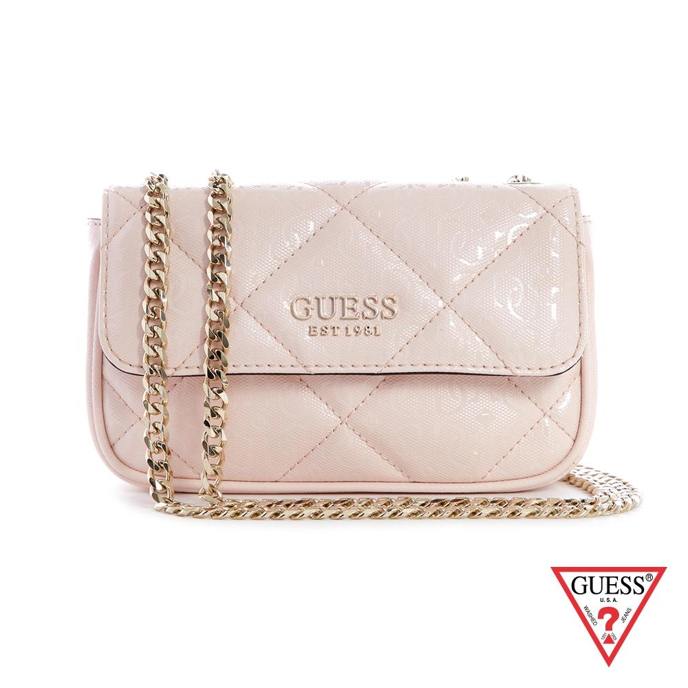 GUESS-女包-亮面菱格紋肩背包-粉 原價2290
