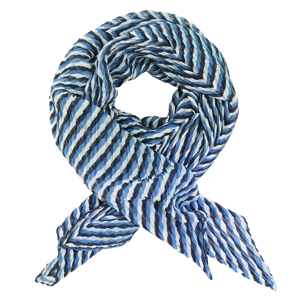 ISSEY MIYAKE 三宅一生 PLEATS PLEASE 條紋四褶斜紋圍巾(藍白)