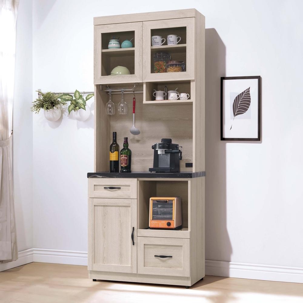 Boden-曼蒂2.7尺黑色石面多功能收納高餐櫃/碗盤置物櫃/電器櫃(上座+下座)-81x41x202cm