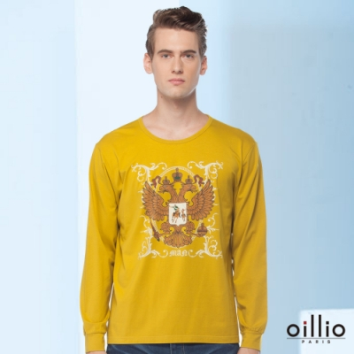 oillio歐洲貴族 長袖圓領T恤 吸濕排汗不悶熱 超柔上衣 舒適穿著 黃色