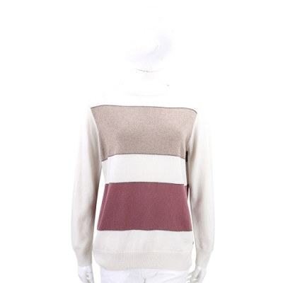Andre Maurice 喀什米爾色塊拼接米白色針織羊毛衫
