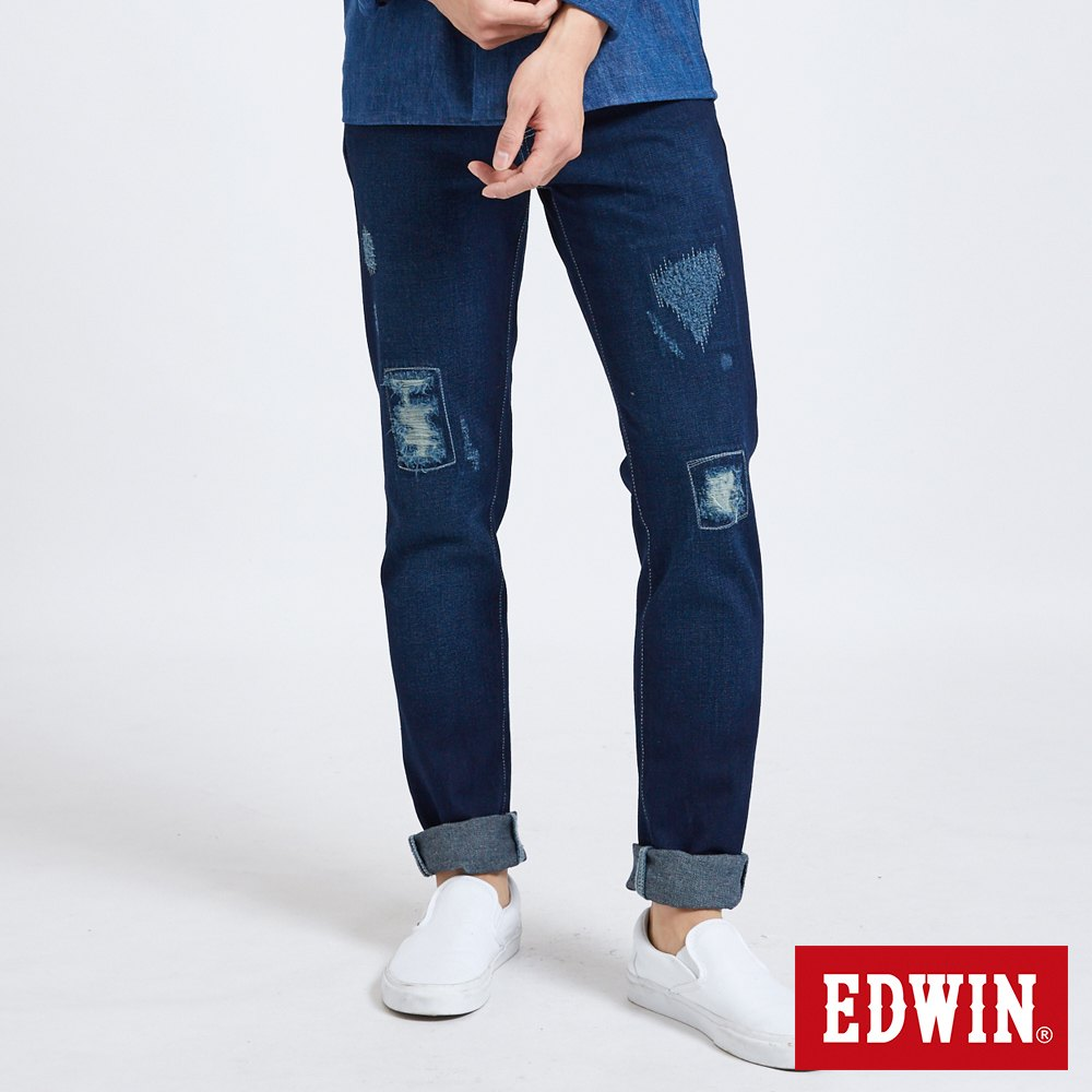 EDWIN 503重加工窄管牛仔褲-男-中古藍