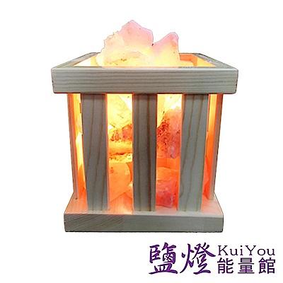 【鹽燈能量館】自然風木藝鹽燈-S