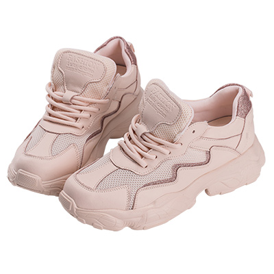 Robinlo 運動風閃電金蔥厚底老爹鞋 粉