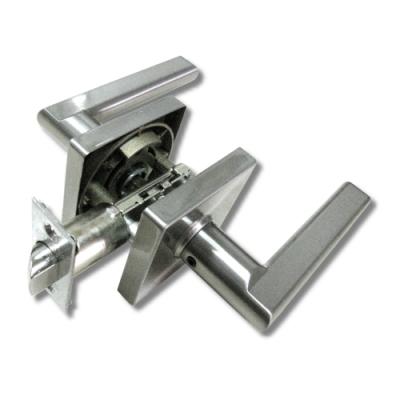 加安 LB1X203P 現代風系列通道鎖 60mm 磨砂銀 方套盤 水平把手鎖 水平鎖
