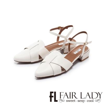 FAIR LADY 小時光  拼接剪裁繫帶低跟涼鞋 白
