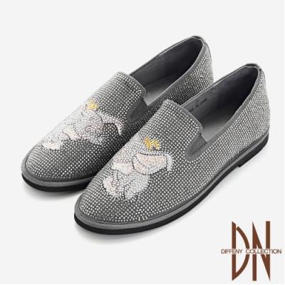 DN休閒鞋_小飛象刺繡滿鑽休閒平底樂福鞋-灰